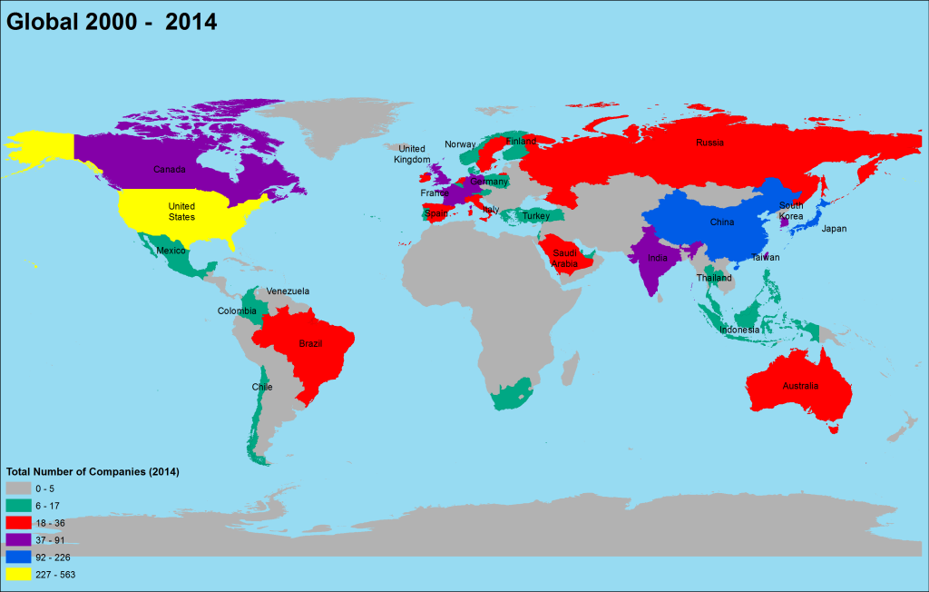 Thematic Map of the Forbes Global 2000 Companies for the Year 2014