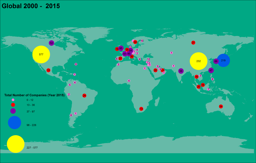 Point and Chart Map of the Forbes Global 2000 Companies for the Year 2015