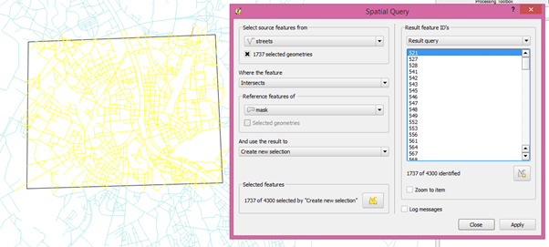 Spatial Query results