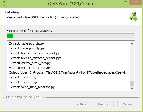 QGIS installation process window