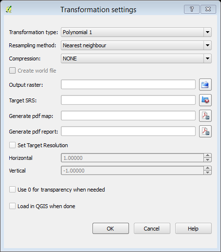Transformation settings