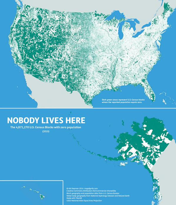 US Census Blocks with zero population
