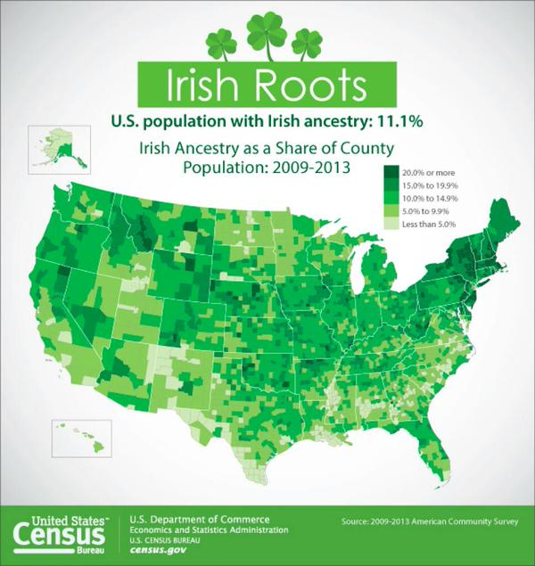 Irish ancestry as a share of County population in the USA: St Patrick's Day map