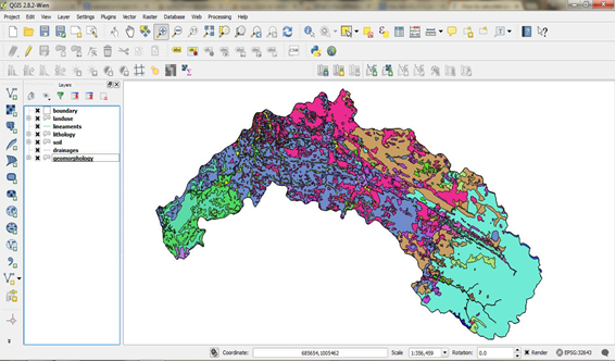 Figure 1 vector files loaded in the QGIS