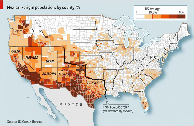 Mexican-Origin Population in the United States by Percentage