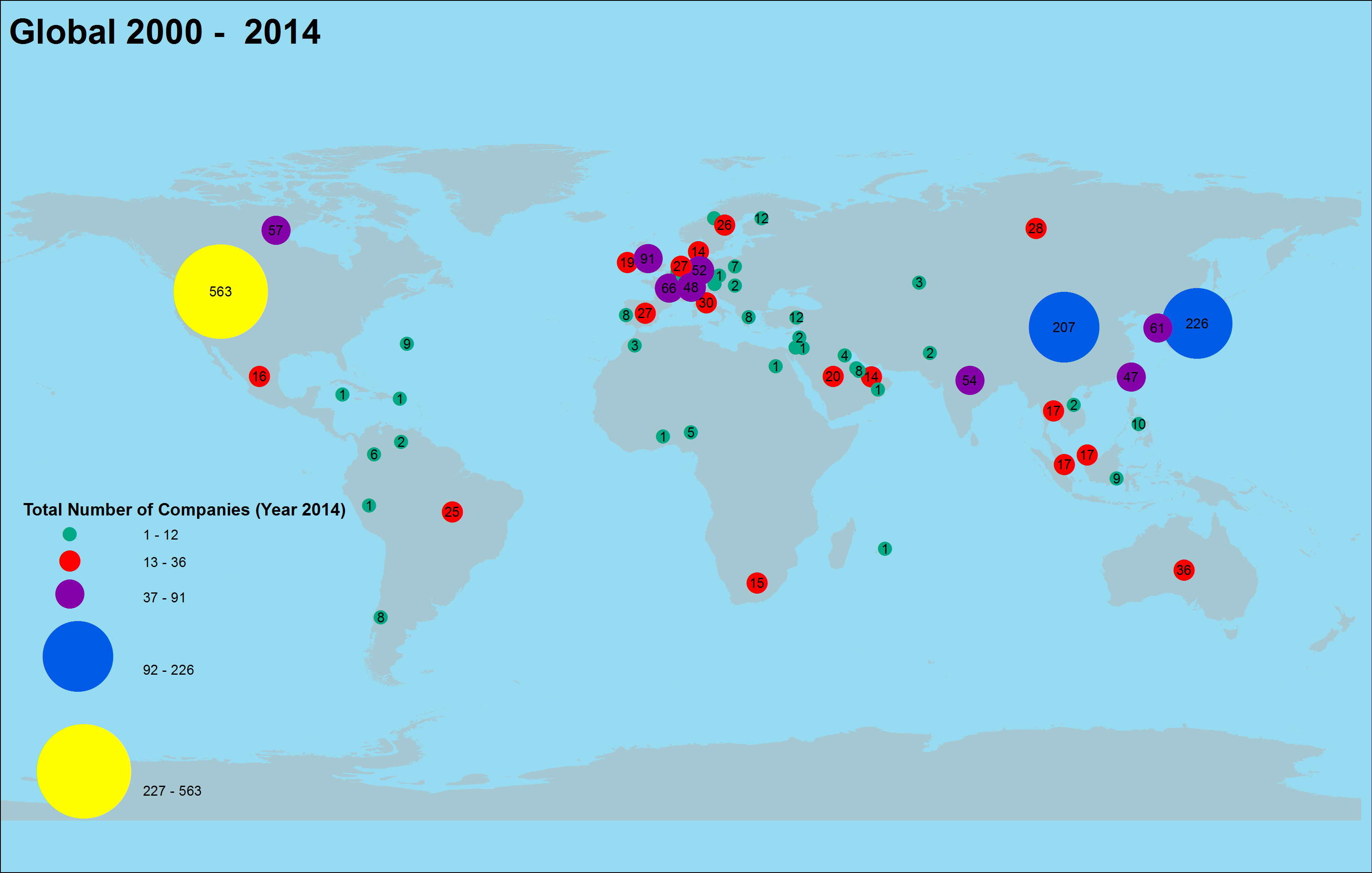 Mapping of 2014 Forbes Global 2000 Public Companies