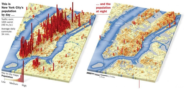 NYC Population Density Map at Day and Night