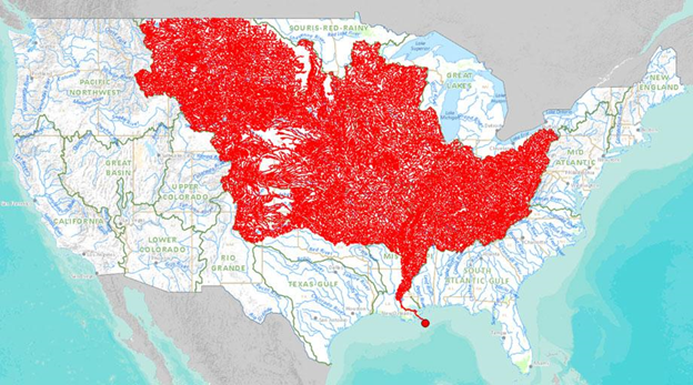 The USA Map that show 7000 water channels that feed into Mississippi River
