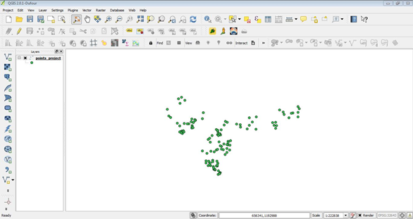 Vector file loaded in QGIS