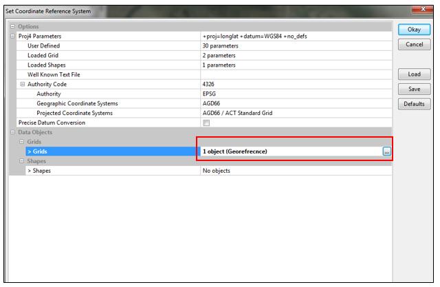 Set Coordinate Reference System option