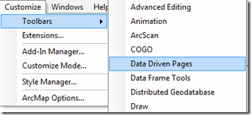 Data Driven Pages Toolbar